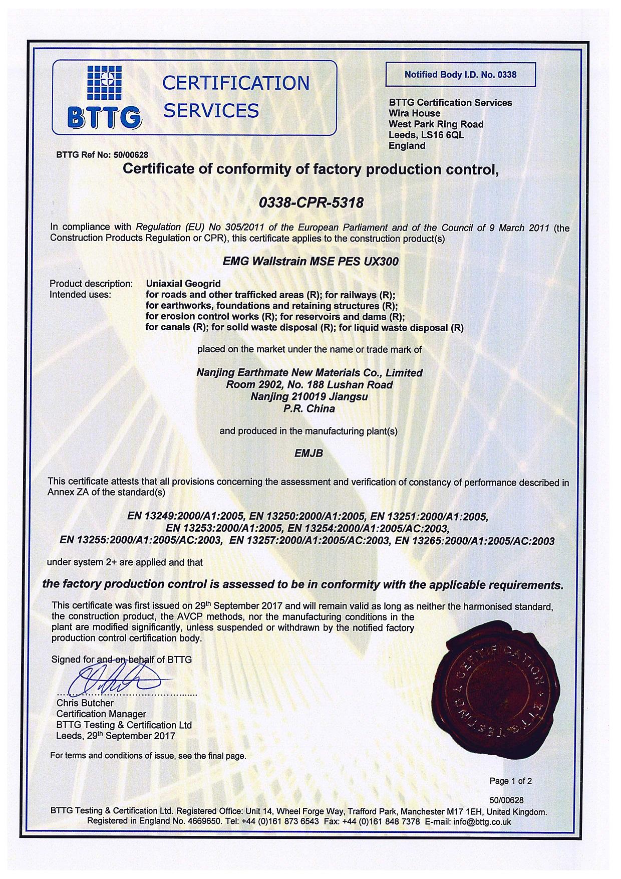WALLSTRAIN PES Geogrids CE Certificate of Conformity|BTTG, U.K.