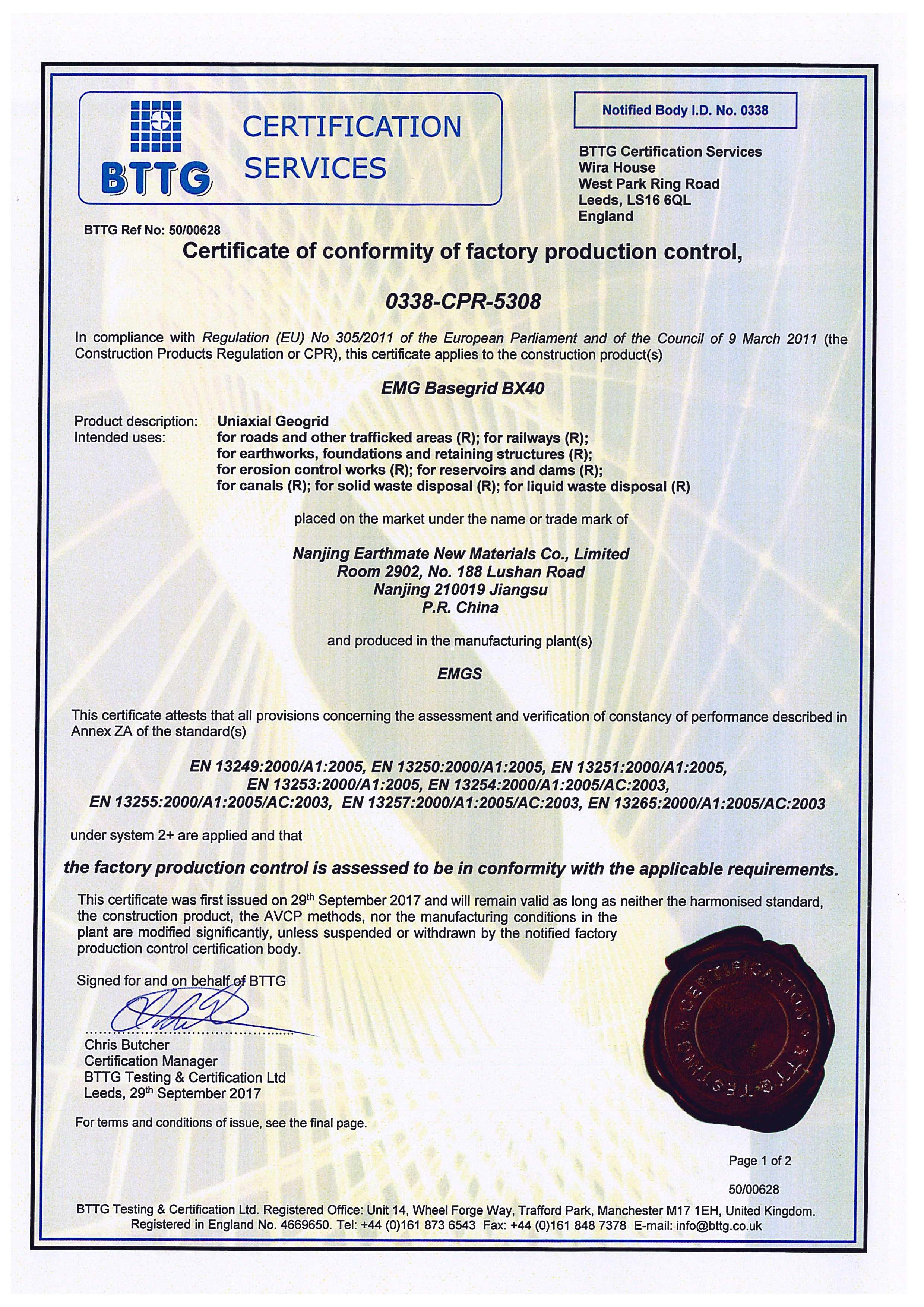 BASEGRID PP BX Geogrids CE Certificate of Conformity | BTTG, U.K.