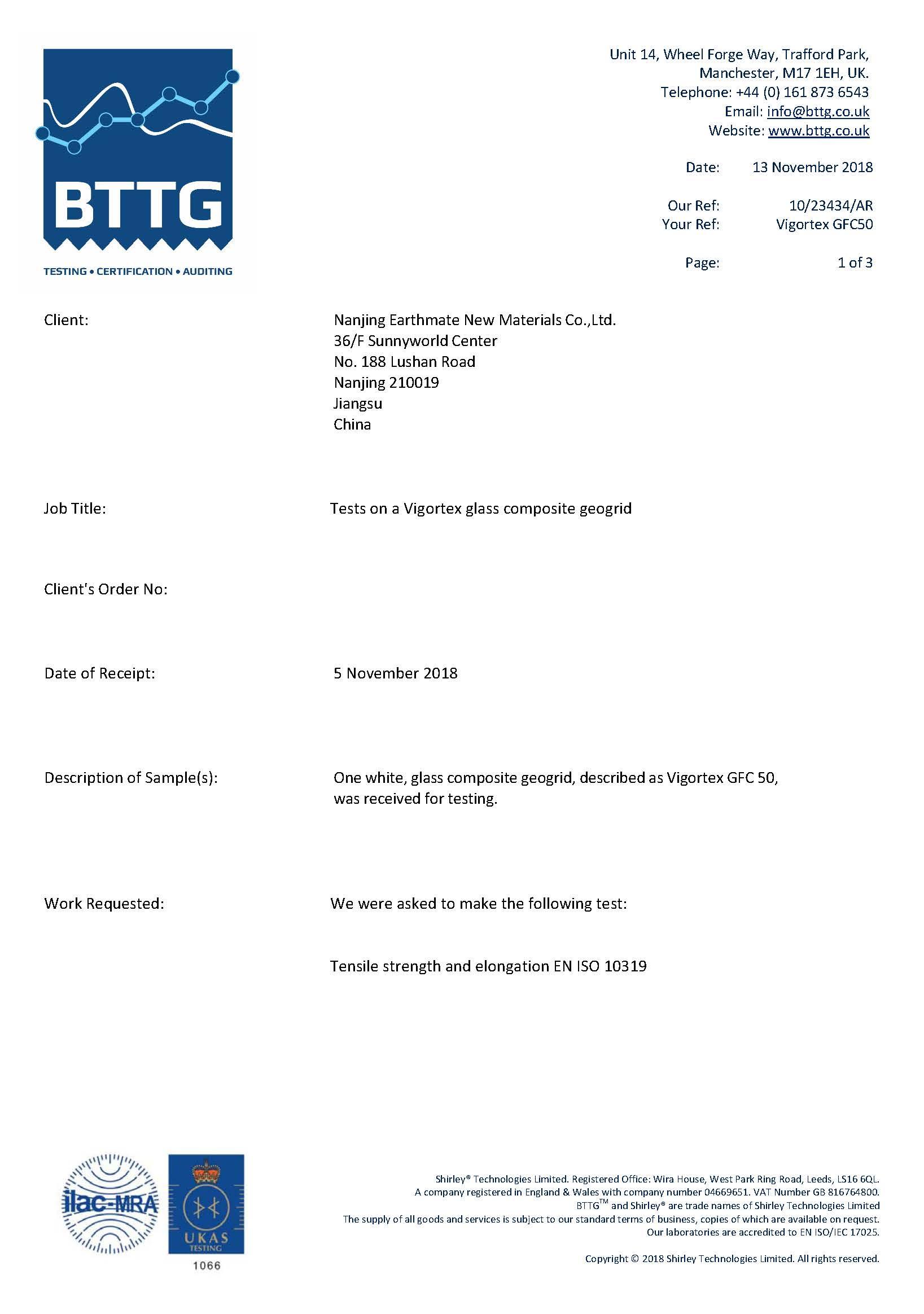 VIGORTEX GFC Testing Report | BTTG, U.K.