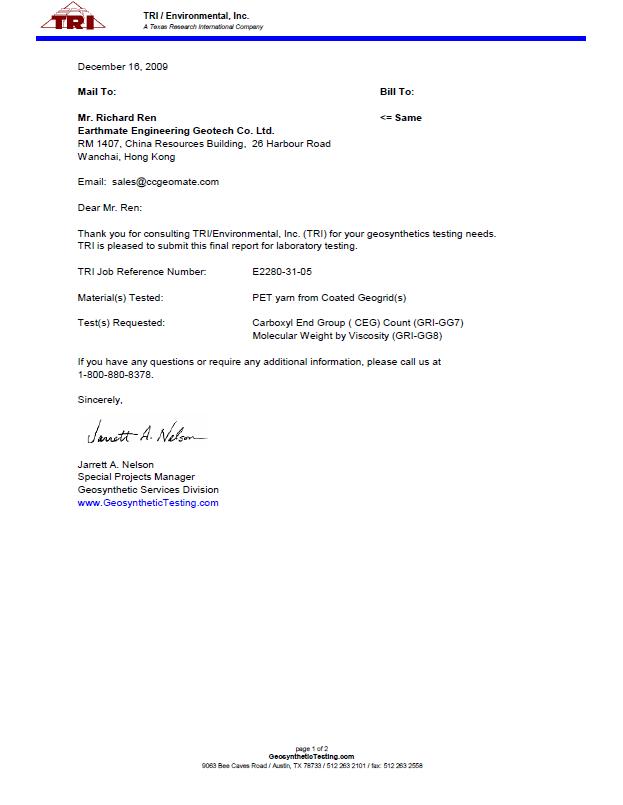 WALLSTRAIN CEG Testing Report | TRI,U.S.A