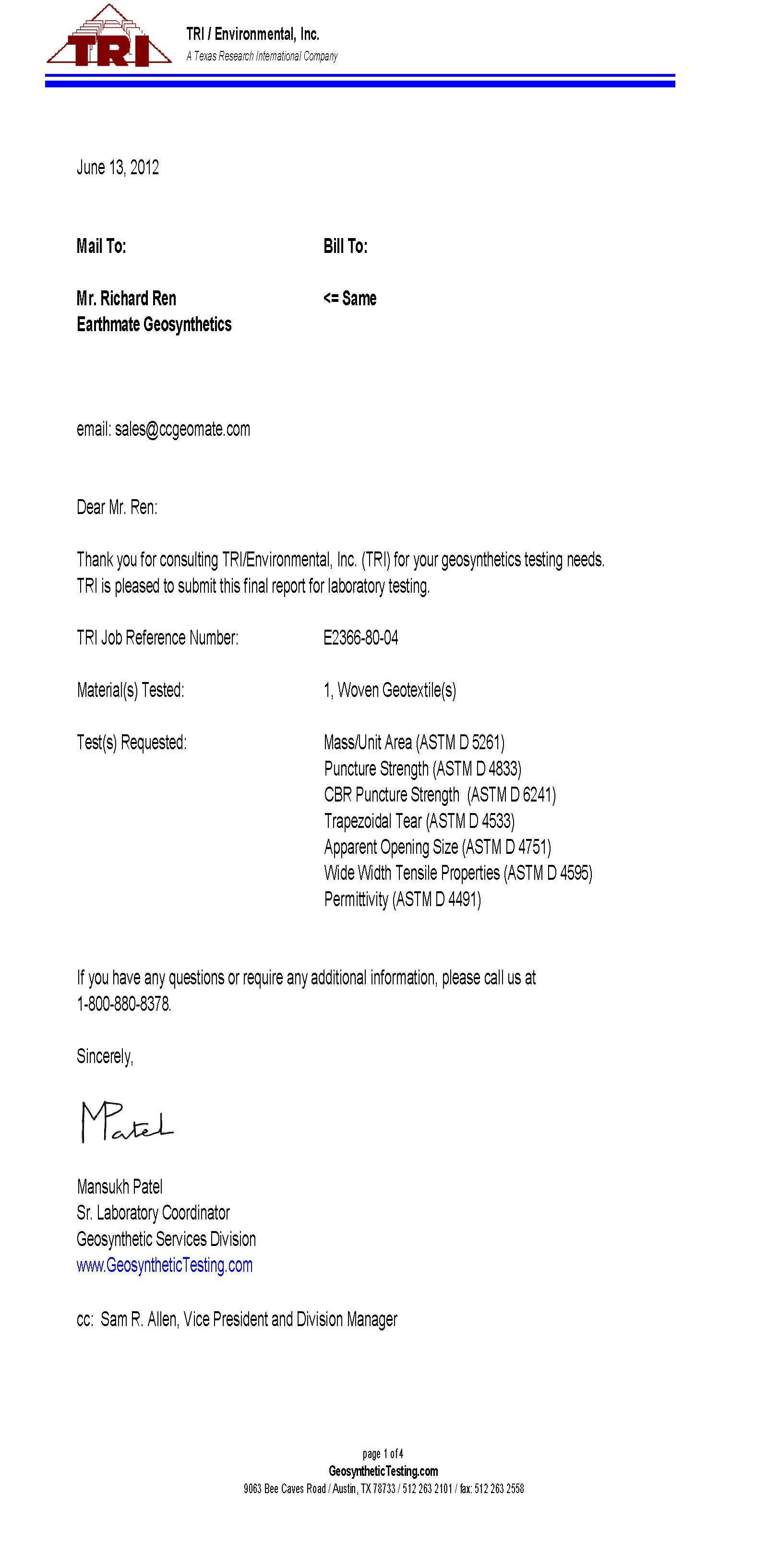 BASALFAB DWG55 Testing Report | TRI,U.S.A