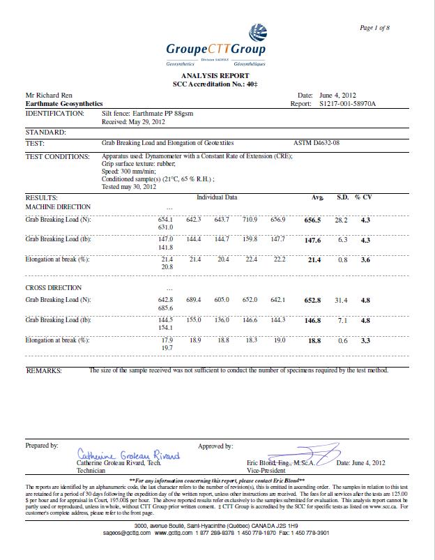 BASALFAB SILT FENCE SF88 Testing Report | CTTG,Canada