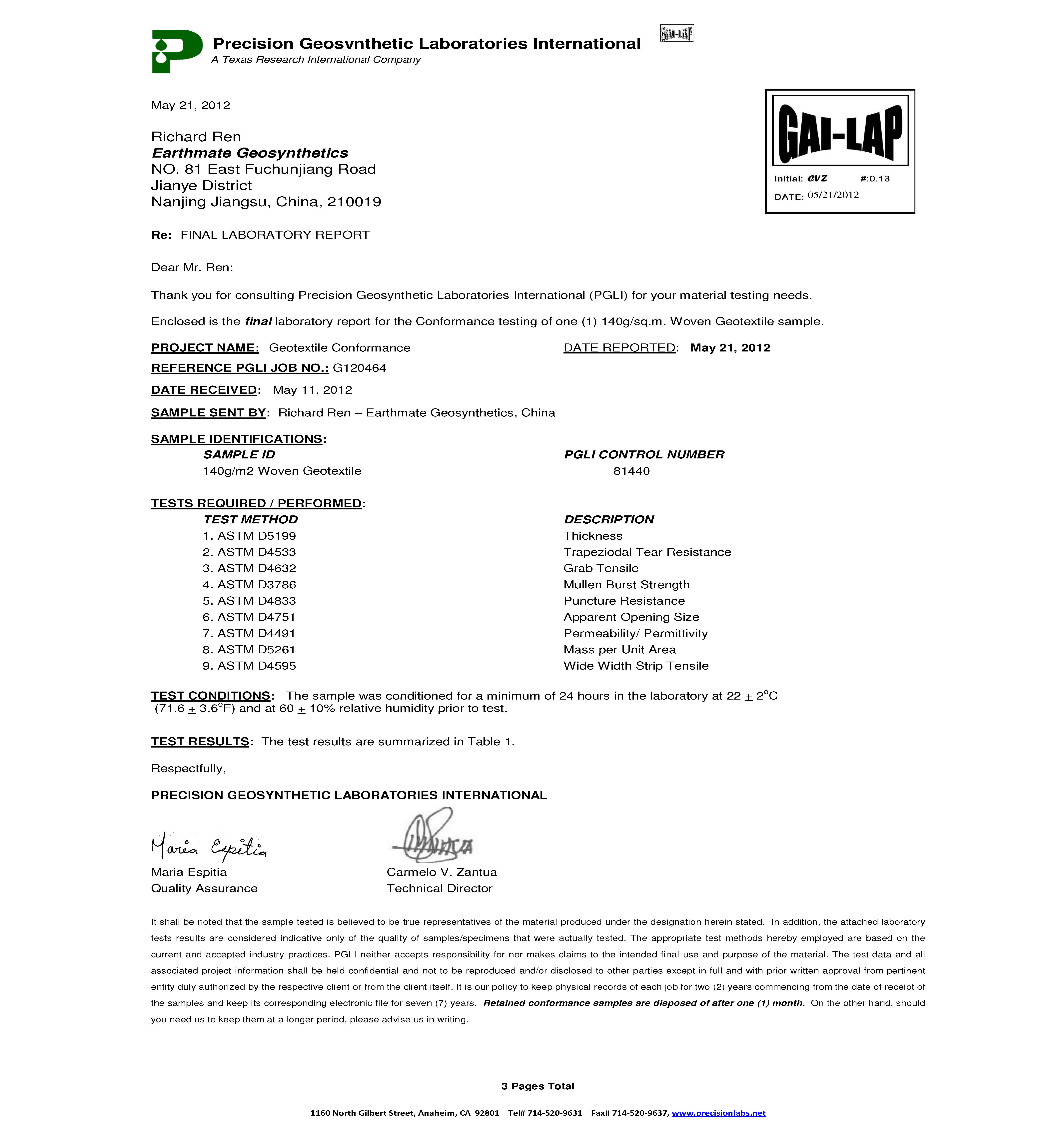 BASALFAB PWG140 Testing Report | PGL,U.S.A