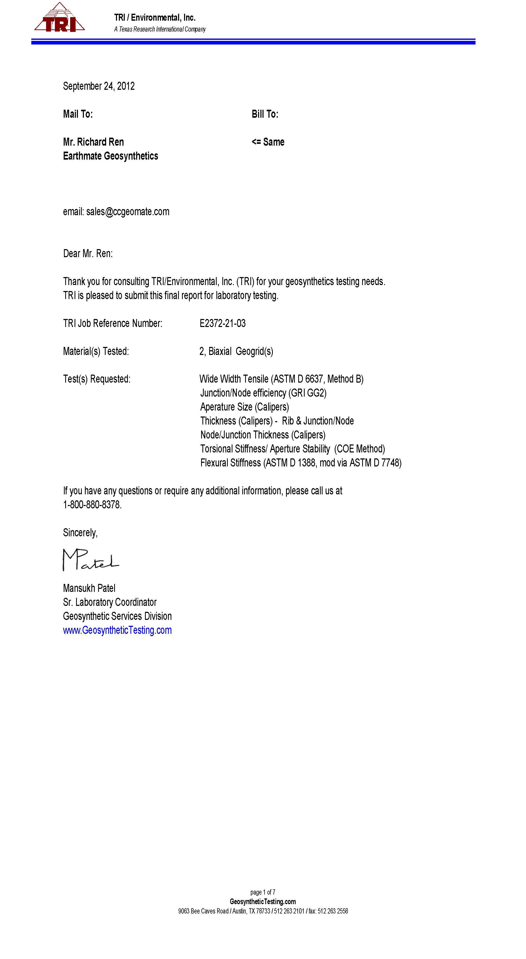 BASEGRID PP BX Geogrid 1100&1200 Testing Report | TRI, U.S.A
