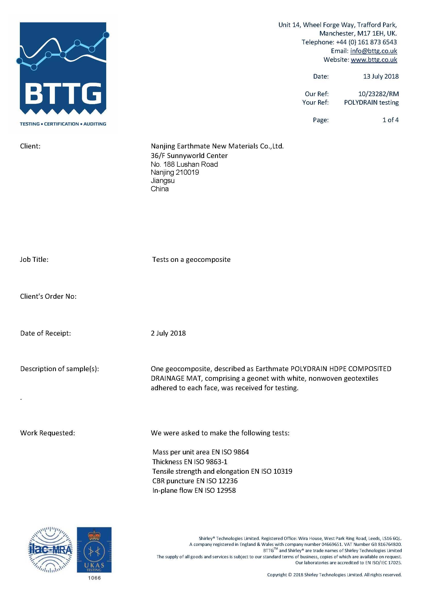 POLYDRAIN Compoisted Drainage Geonet Testing Report | BTTG,U.K.