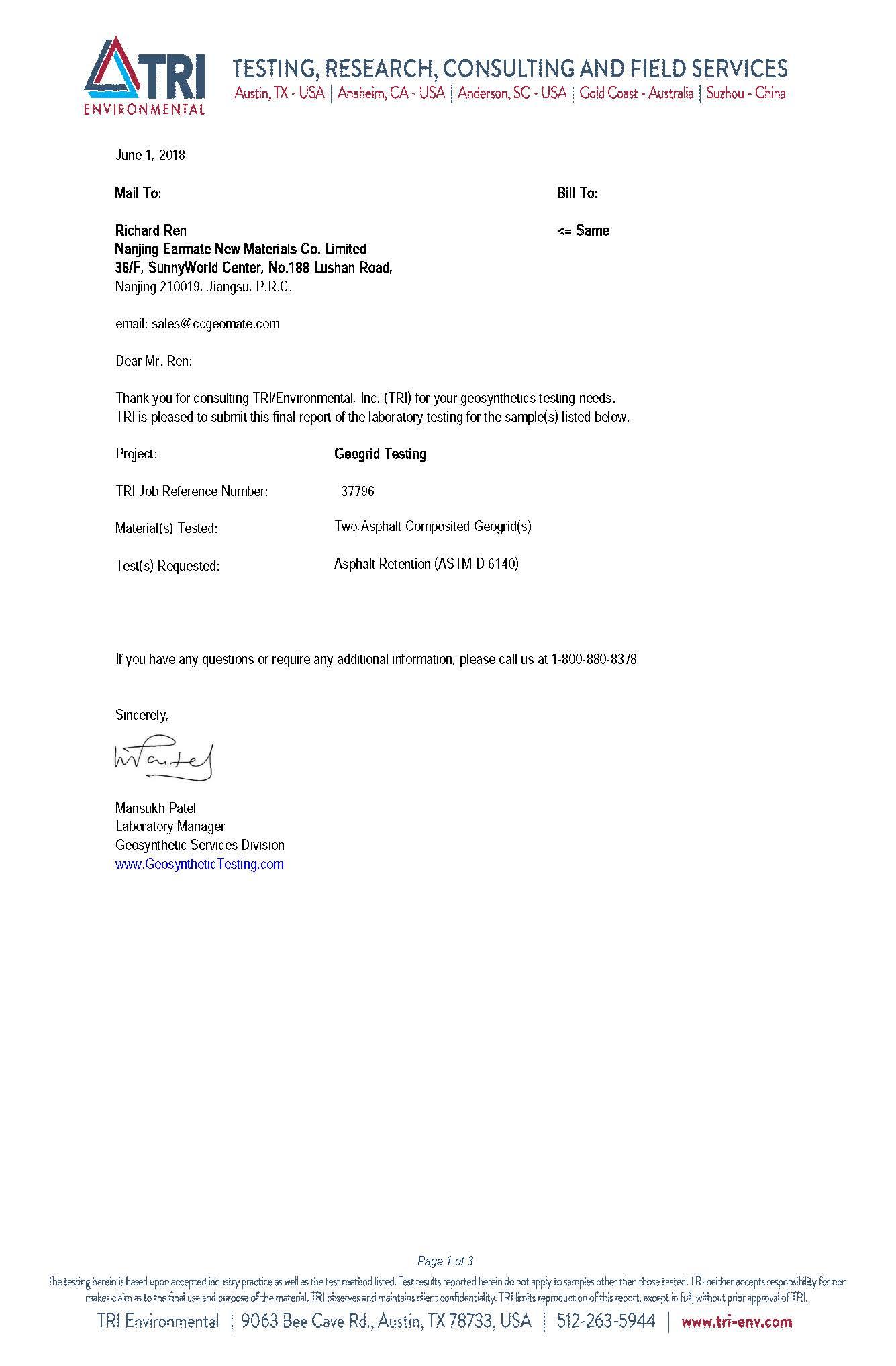 Asphaltrac & VIGORTEX Asphalt Retention Testing Report | TRI,U.S.A