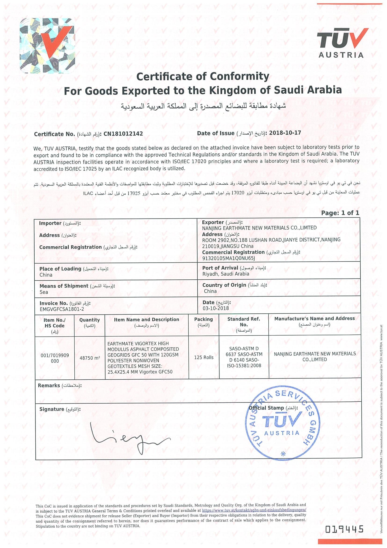 VIGORTEX GFC SASO Certificate of Conformity|TUV, Austria